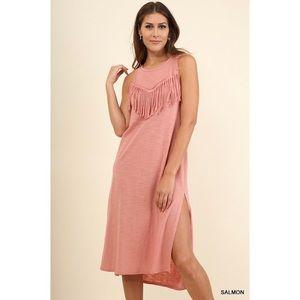 Midi Dress with Fringe and Side Slit